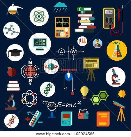 Flat physics science equipment and symbols
