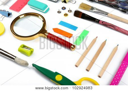 Stationery objects isolated on white
