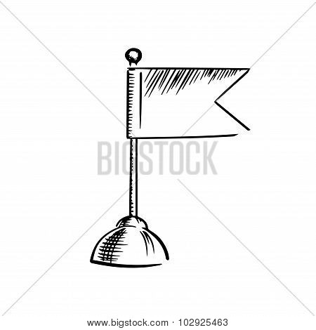 Icon of table flag on round stand sketch