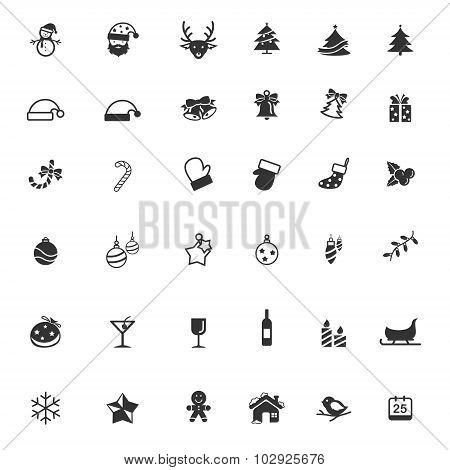 Silhouette Christmas And New Year Ornament Present Decoration And Object Icon Collection Set Used Fo