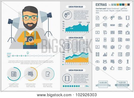 Media infographic template and elements. The template includes illustrations of hipster men and huge awesome set of thin line icons. Modern minimalistic flat vector design.