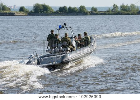 Military Navy Training. Navy Paratroopers. Boat Leaves Trainingplace