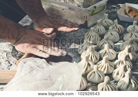 Cook Prepares Khinkali