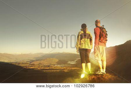 Adventurists Mountain Climbing Explorer Hiking Concept