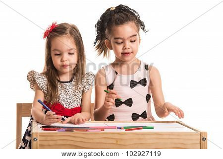 Two Little Girls Drawing
