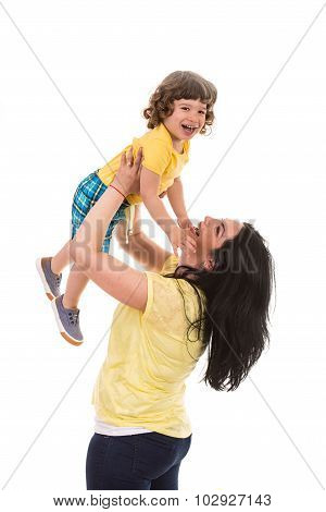 Laughing Mother And Son