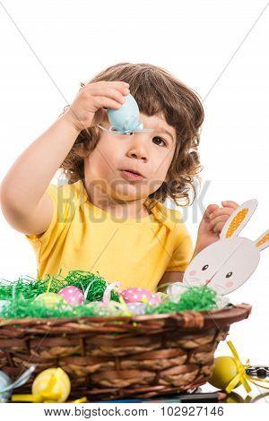 Toddler Boy Showing Easter Egg