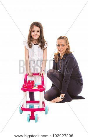 Girl Pushing Pram Toy