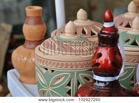 Traditional water storage containers a.k.a. Labu Sayong in Malay made from clay