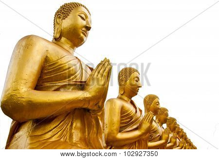 A Row Of Golden Buddha