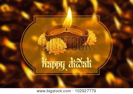 Vector illustration of burning oil lamp diya on Diwali Holiday, ancient Hindu festival of lights, on blurred background. Original calligraphic inscription Happy Diwali and space for your text.