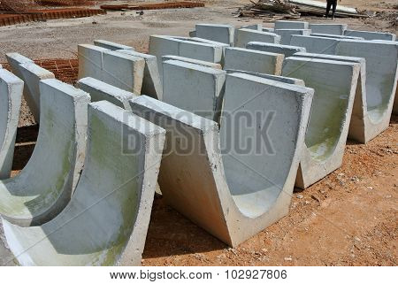 V-shaped trench drain at the construction site