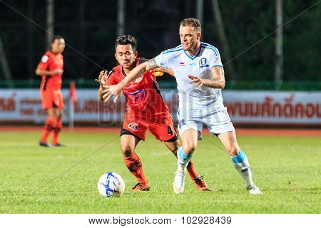 Sisaket Thailand-september 20: Anucha Suksai Of Sisaket Fc. (orange) In Action During Thai Premier L