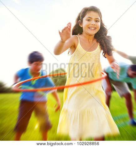Hula Hooping Outdoors Park Fun Lifestyle Relaxing Concept