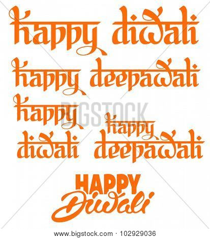 Original calligraphic inscriptions Happy Diwali (Deepawali) greeting on Diwali Holiday, ancient Hindu festival of lights, isolated on white background. Set of vector illustration.
