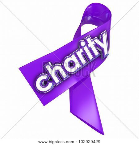 Charity word on a 3d purple ribbon to illustrate a fundraiser or awareness campaign for a non-profit or other worthy cause
