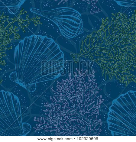Vector seamless vintage pattern with hand drawn seashells and corals on sea water blue background.
