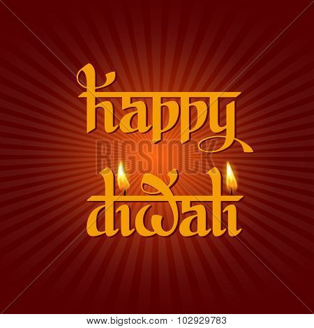 Original calligraphic inscription Happy Diwali  greeting on Diwali Holiday, ancient Hindu festival of lights, on dark red background. Vector illustration.