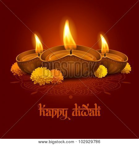 Vector illustration of burning oil lamp diya on Diwali Holiday, ancient Hindu festival of lights, decorated with flowers. Original calligraphic inscription Happy Diwali and space for your text.