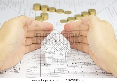 Man Protect House Have Blur Step Of Gold Coins