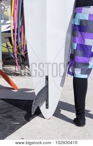 Windsurf Board And A Surfer Girl