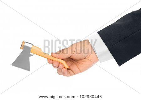 Hand with toy axe isolated on a white background