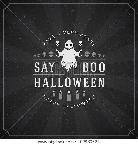 Vintage Happy Halloween Typographic Design Vector Background and Ghost