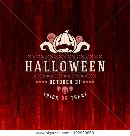 Vintage Happy Halloween Typographic Design Vector Background and Pumpkins