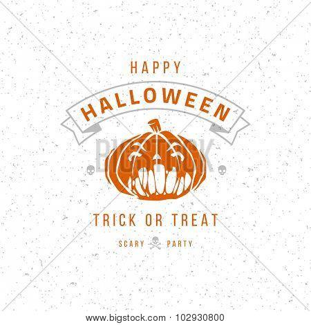 Vintage Happy Halloween Typographic Design Vector Background and Pumpkin