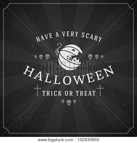 Vintage Happy Halloween Typographic Design Vector Chalkboard Background and Pumpkin