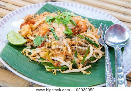Thai food Pad Thai , Stir fried noodles with shrimp