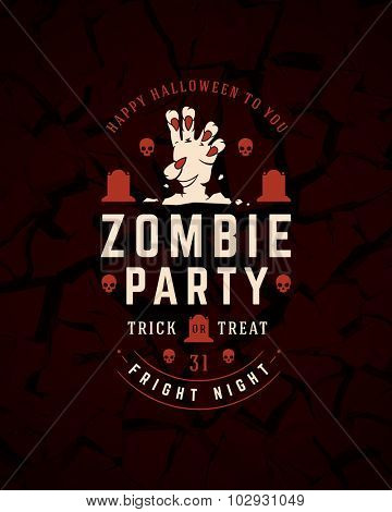 Vintage Happy Halloween Typographic Design Vector Background and Zombie hand