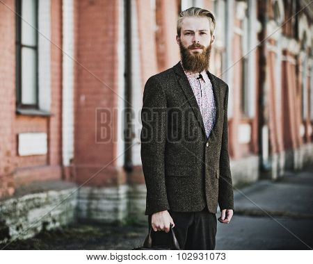 young handsome attractive bearded model man, summer time