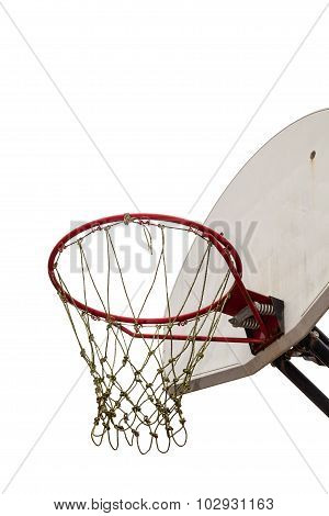 Old Basketball Board And Hoop On White Background