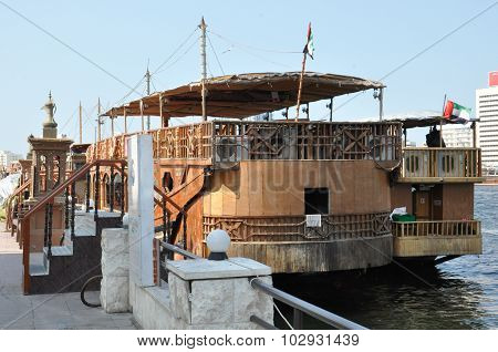 Boats, abras, dhows at Dubai Creek in the UAE