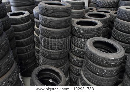 old tires in warehouse