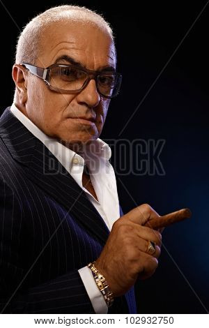 Closeup portrait of elegant mature man smoking cigar, looking serious.