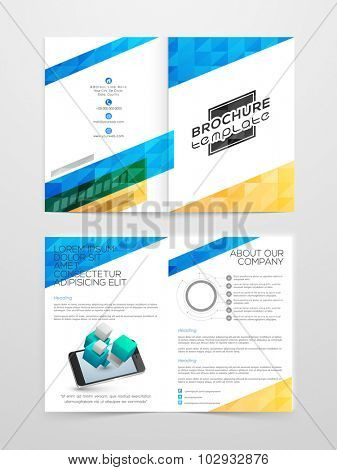 Creative professional Brochure, Template or Flyer design with front and back side presentation.