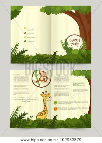 Creative stylish Brochure, Flyer, Banner or Template design with wild animals for Jungle Camp.