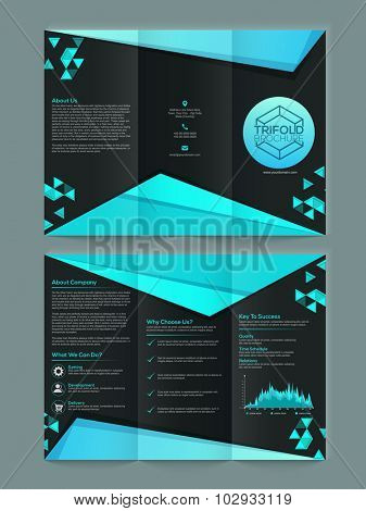 Glossy abstract design decorated stylish Business Trifold Brochure, Template, Catalog or Banner.
