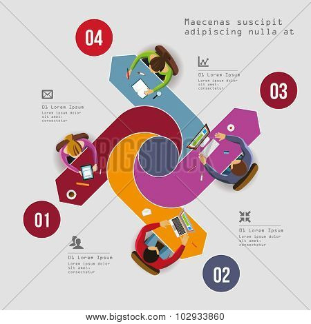 Infographics Element - Top View on Arrow square with People. Vector illustration.