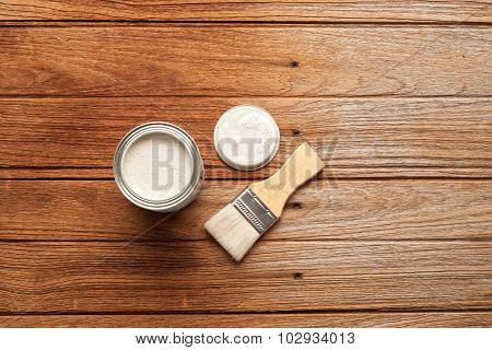 Paintbrush Wood Coating Tool Wood Teak Still Life Background