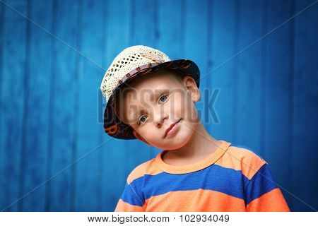 Portrait Of Happy Joyful Beautiful Little Boy Wearing A Straw Hat With Rivets