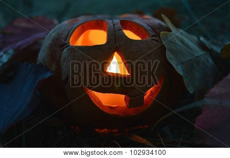 Candlestick pumpkin with a burning candle inside, among autumn fallen leaves in the dark