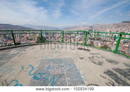Cityscape Of La Paz, Bolivia With Illimani Mountain Rising In Th