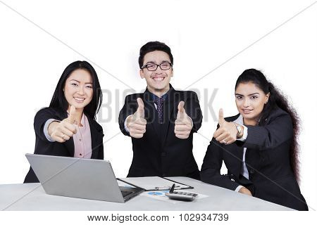 Cheerful Businesspeople With Thumbs-up Isolated