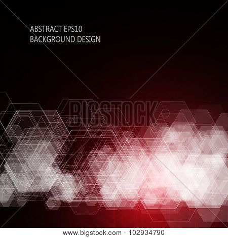 Abstract red background. Hexagonal pattern structure. Vector image.
