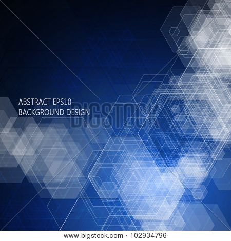Abstract blue background. Hexagonal pattern structure. Vector image.