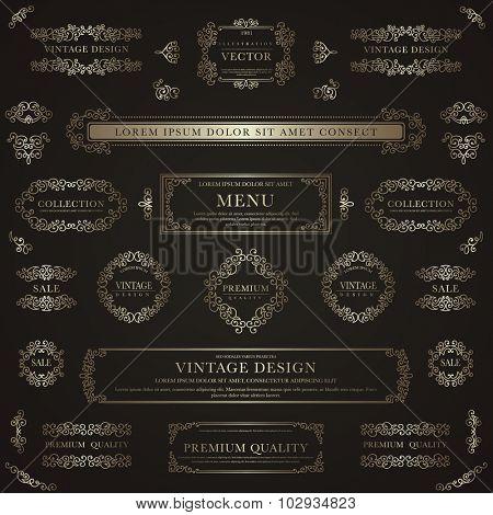 Set of golden decorative vintage design elements for label, logo, emblem design.