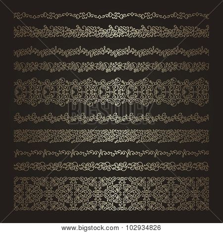 Set of golden decorative borders. Detailed seamless ornaments.